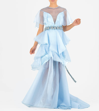 Ruffled Organza Long Dress With Metallic Cord Belt - John Paul Ataker