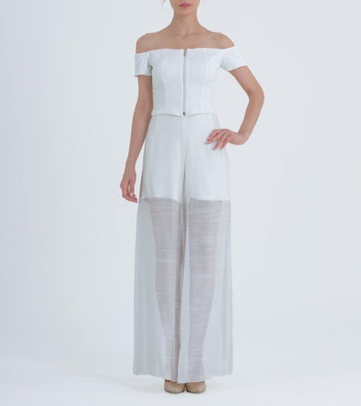 Off-Shoulder Ribbed Jacquard Crop Top With Wide-Leg Mesh Pants - John Paul Ataker