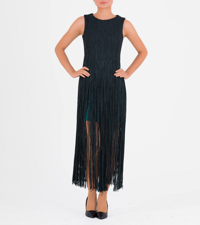 Metallic Cord Fringe Short Dress - John Paul Ataker