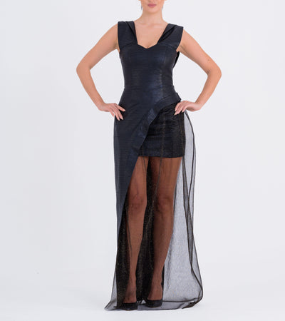 Draped Sleeve Faux Leather And Tulle Dress - John Paul Ataker
