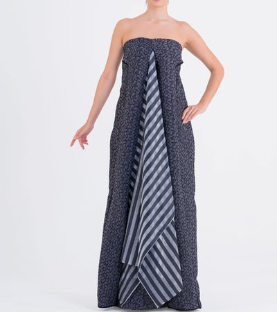 Striped Jacquard And Striped Organza Long Dress - John Paul Ataker