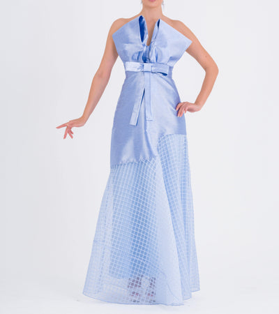 Bow detailed Taffeta And Pleated Organza Long Dress - John Paul Ataker