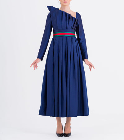 Draped Mikado Midi Dress - John Paul Ataker