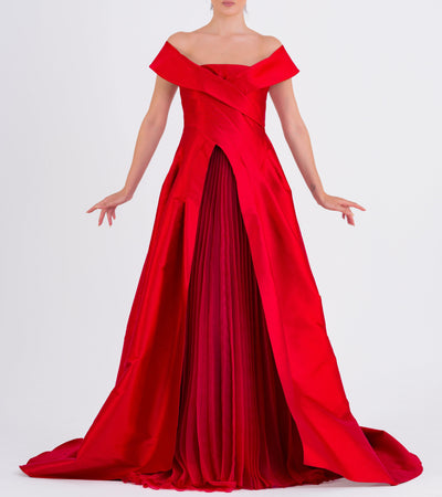 Draped Taffeta And Pleated Organza Gown - John Paul Ataker