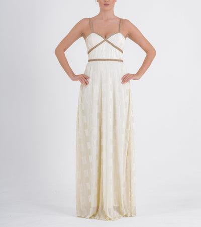 Metallic Cord Detailed Pleated Long Dress - John Paul Ataker