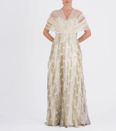 Draped Organza And Fringe Jacquard Dress - John Paul Ataker