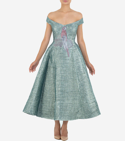 Pleated Jacquard Princess Dress - John Paul Ataker