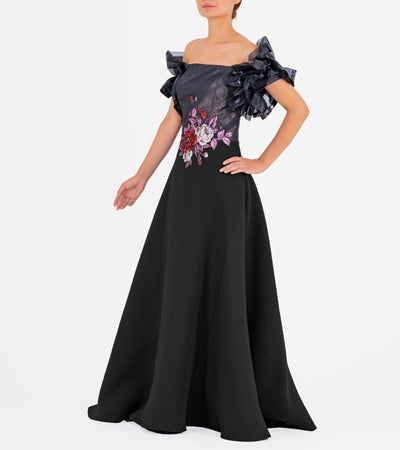 Draped Organza Sleeve Jacquard Long Dress With Flower Applique - John Paul Ataker