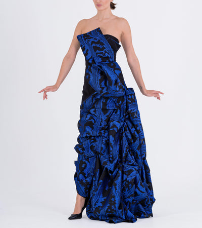 Draped Fil-Coupe Taffeta Gown - John Paul Ataker