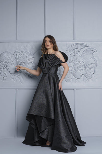 Pleated Metallic Taffeta Ball Gown - John Paul Ataker