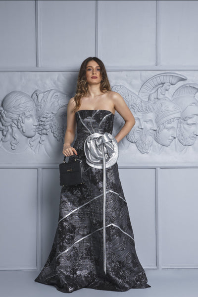Rose Detailed Jacquard Gown - John Paul Ataker