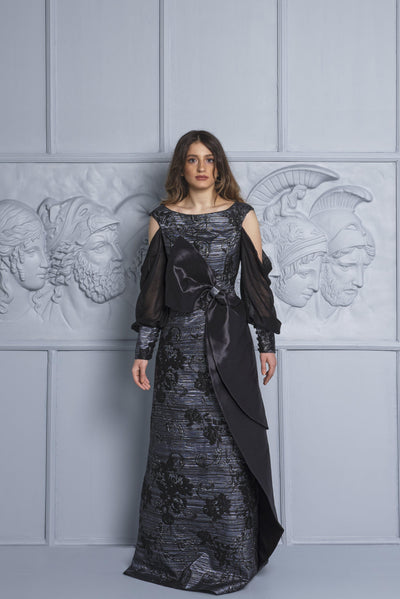Bow Detail Jacquard And Mesh Gown - John Paul Ataker