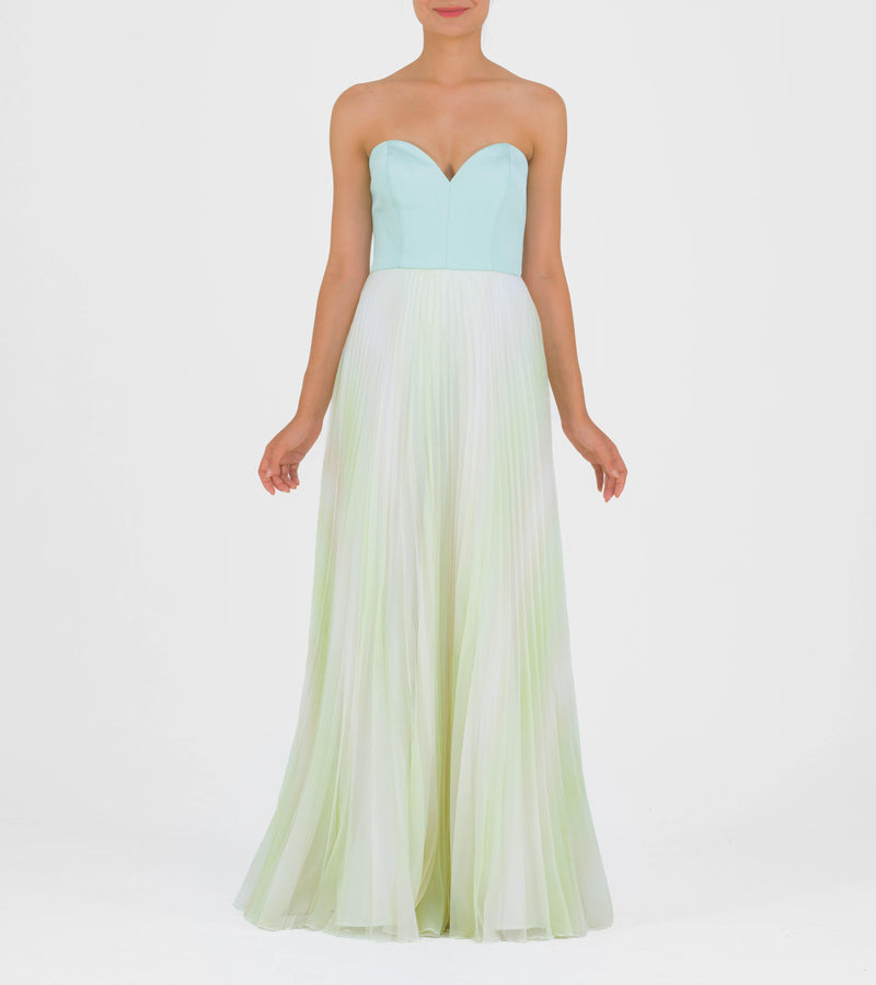 Pleated Chiffon and Faille Long Dress