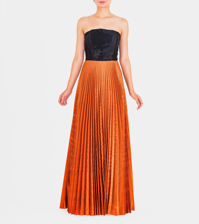 Strapless Taffeta Pleated Long Dress - John Paul Ataker