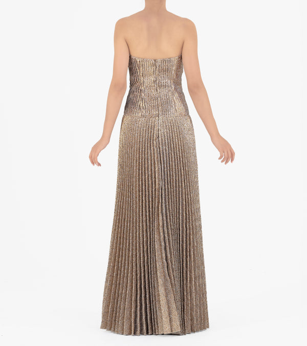 Pleated Jacquard Gown
