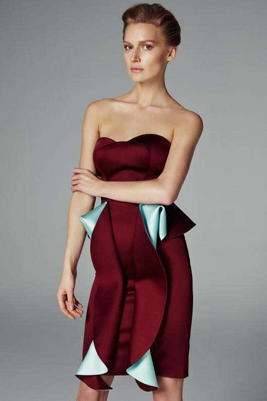 Draped Two-toned Satin Mini Dress