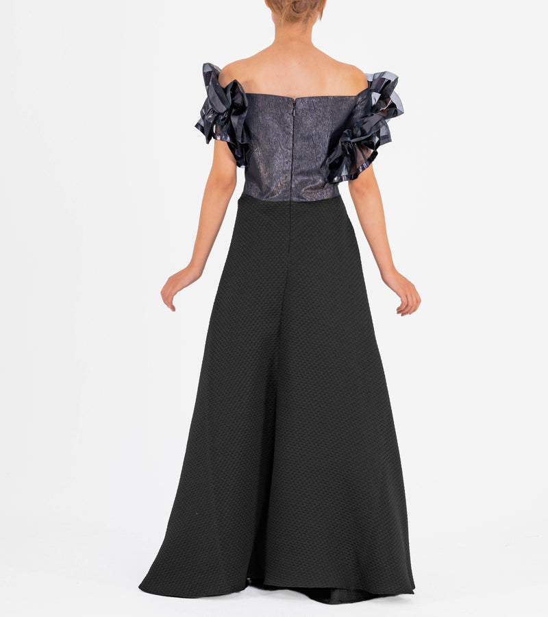 Draped Organza Sleeve Jacquard Long Dress with Flower Applique