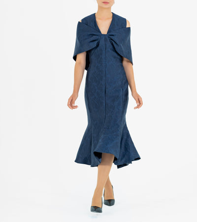 Bow Shawl Detailed Jacquard Midi Dress - John Paul Ataker