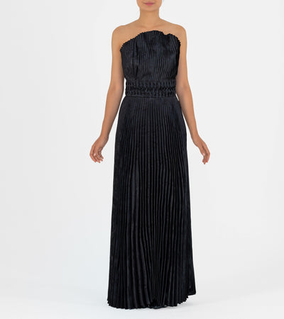 Detailed Waist Pleated Taffeta Gown - John Paul Ataker
