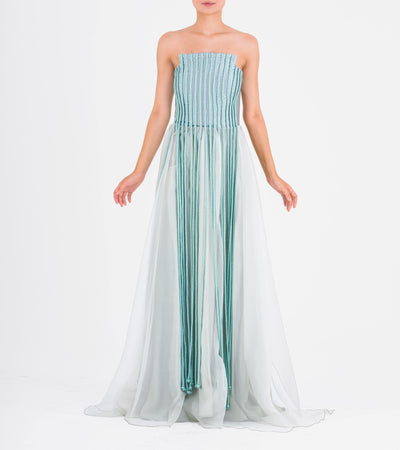 Strapless Taffeta and Organza Gown with Metallic Cord Fringes - John Paul Ataker