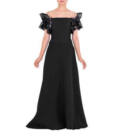 Draped Organza Sleeve Jacquard Long Dress - John Paul Ataker
