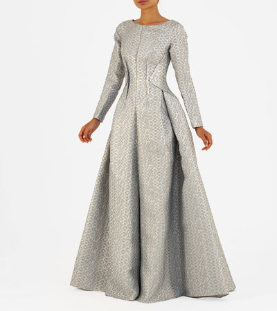 Open-dart detailed Jacquard Gown - John Paul Ataker