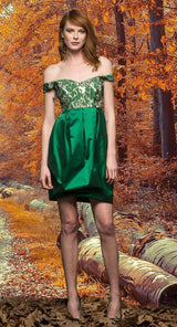 Taffeta and Jacquard Short Dress