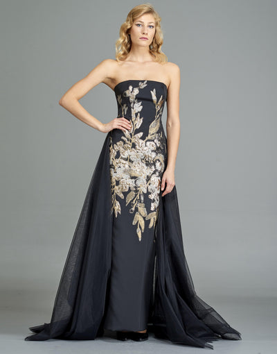 Flower Applique Faille Gown with Organza overskirt - John Paul Ataker