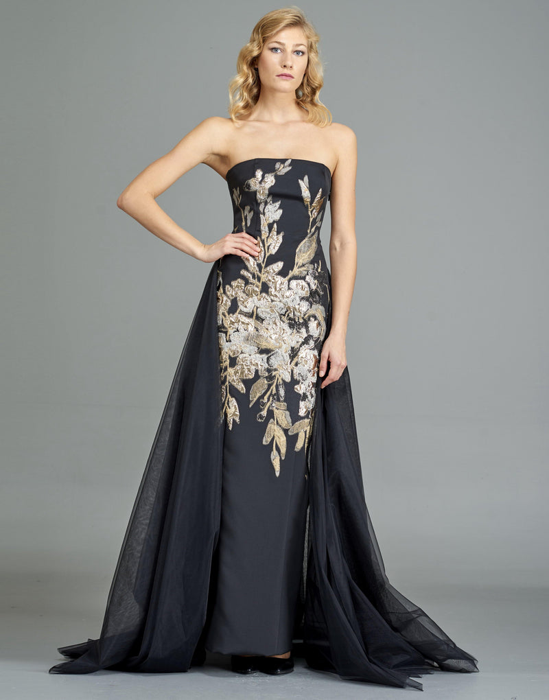 Flower Applique Faille Gown with Organza back train