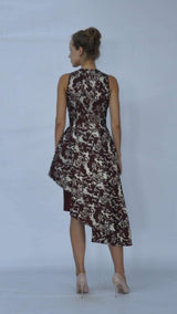 Asymmetric Taffeta and Jacquard Short Dress
