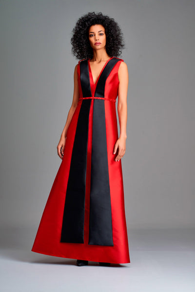 Panelled two-toned long dress - John Paul Ataker