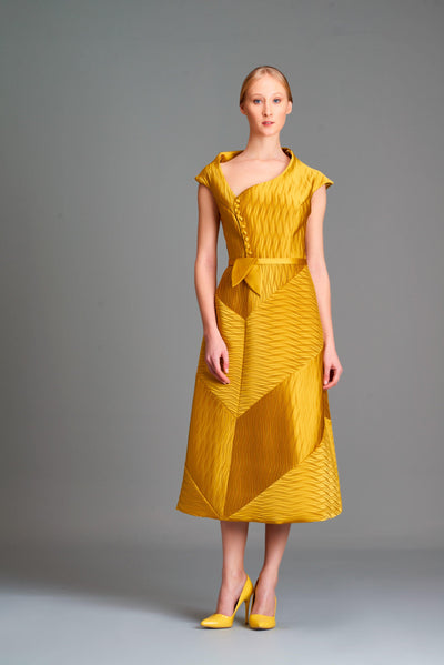 Pleated satin assymmetric midi dress - John Paul Ataker
