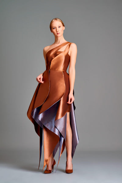 Layered double-side taffeta midi dress - John Paul Ataker