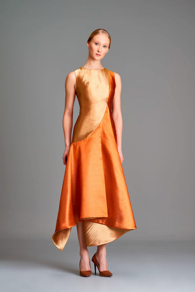 Assymmetric double-side taffeta midi dress - John Paul Ataker