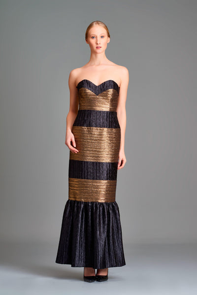 Pleated metallic satin paneled gown - John Paul Ataker