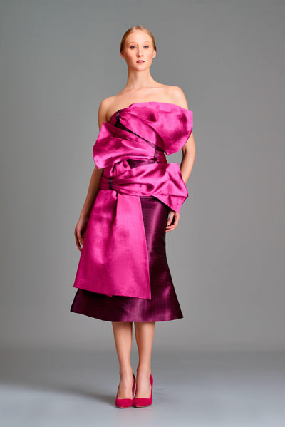 Bow detailed double-side taffeta short dress - John Paul Ataker