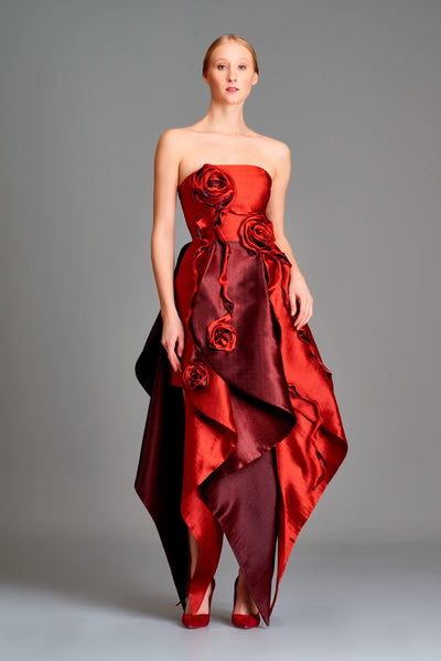 3d flower detailed double-side taffeta midi dress - John Paul Ataker