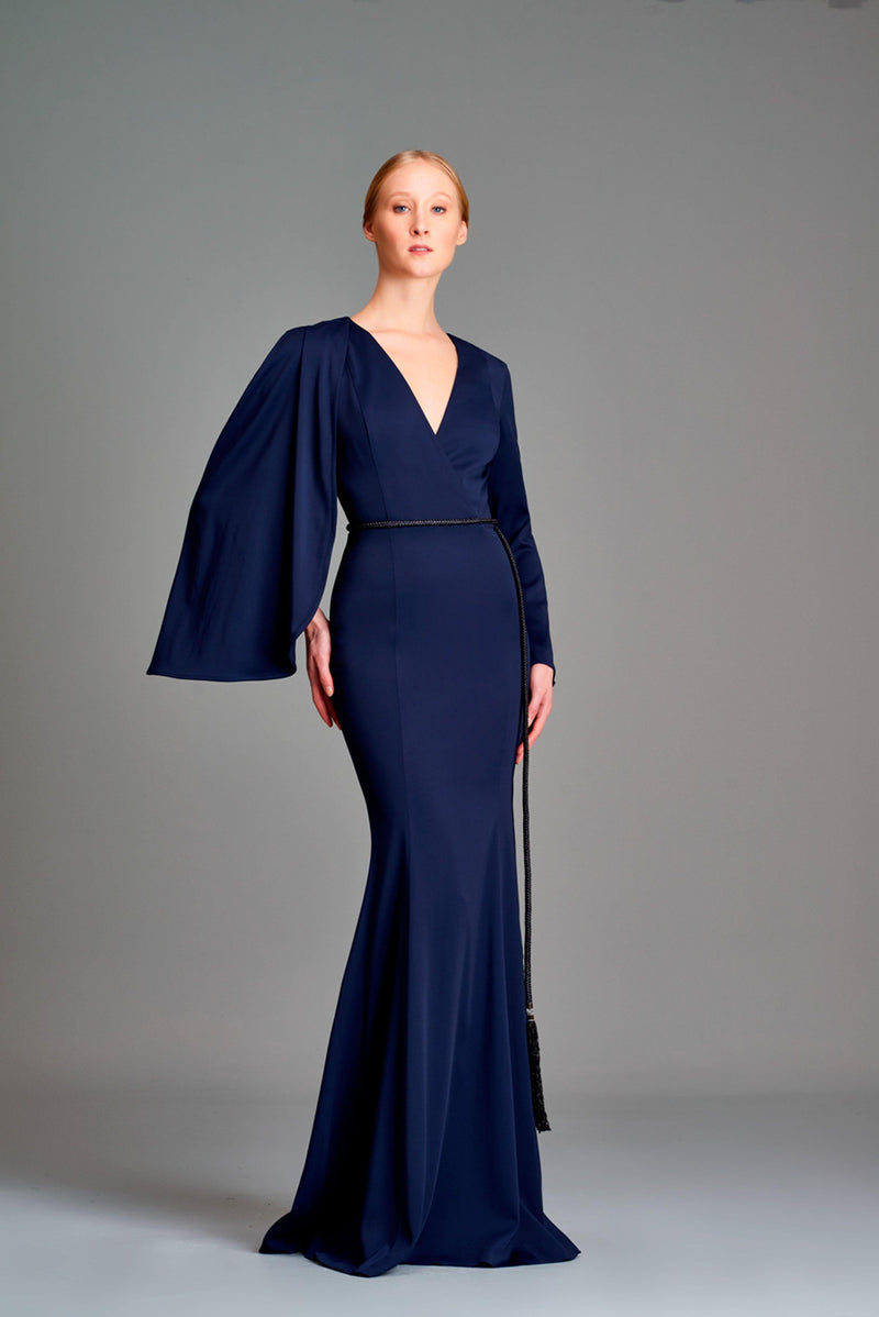 One-cape sleeve double viscose long dress