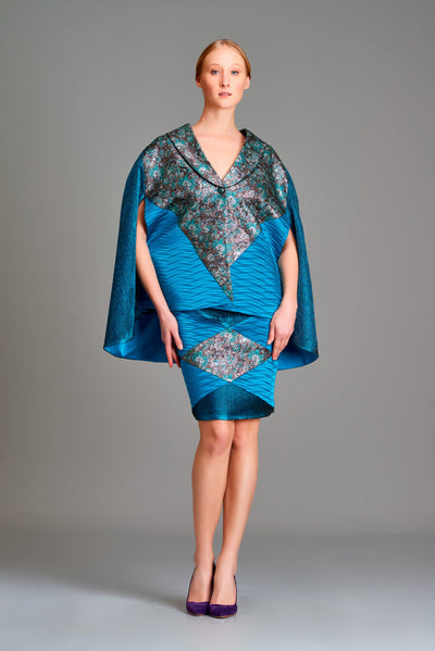 Multi fabric combined cape jacket - John Paul Ataker