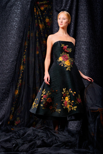 Strapless small pleated taffeta fabric with flower appliques dress - John Paul Ataker