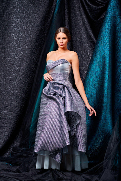 Mosaic jacquard and metallic satin midi dress - John Paul Ataker