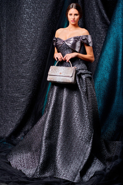Mosaic jacquard and metallic satin structured gown - John Paul Ataker