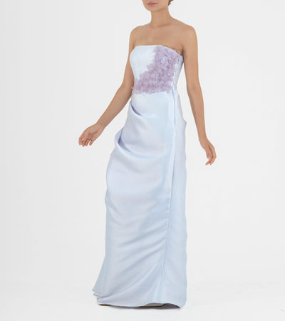 3d Flower detailed Draped Taffeta Gown - John Paul Ataker