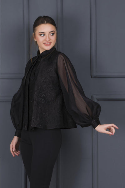 Pleat Detail Jacquard And Organza Shirt - John Paul Ataker