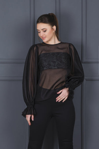 Organza Blouse With Jacquard Panel - John Paul Ataker
