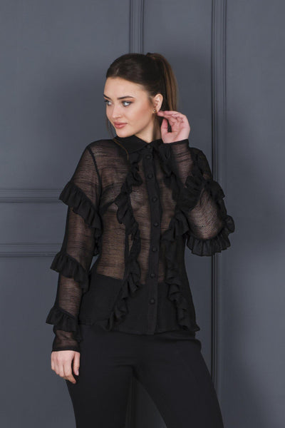 Ruffle Detailed Mesh Shirt - John Paul Ataker