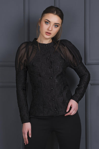 Balloon Sleeves Jacquard Blouse - John Paul Ataker