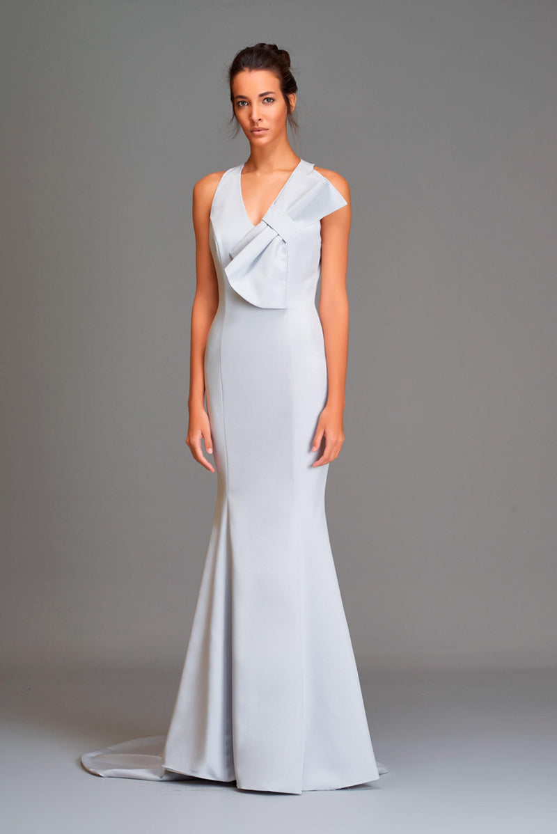 V-neck, bow-detail mermaid gown