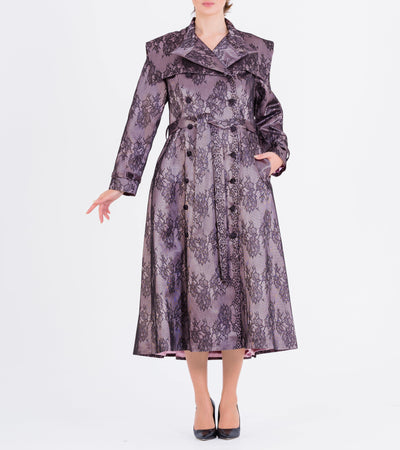 Double-Breasted Lace Taffeta Trench Coat - John Paul Ataker