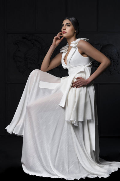 Draped Ribbed Jacquard And Mesh Long Dress_1 - John Paul Ataker